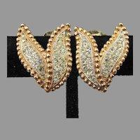 Signed KRAMER Vintage Rhinestone Double LEAF Earrings