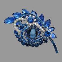 Juliana D & E Sapphire Blue Rhinestone & Givre Glass Pin, Book Piece!