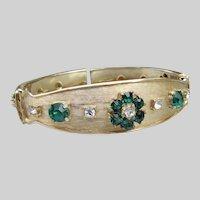 Emerald Green Rhinestone FLOWER Vintage Clamper Hinged Cuff Bracelet