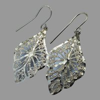 Pretty Sterling Silver Gold Plated Filigree LEAF Dangle Earrings