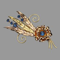 1930's Vintage Art Deco I. Michelson Rose Gold Filled Rhinestone Flower Pin