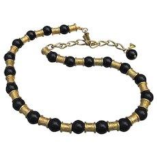 Signed Liz Claiborne Vintage Egyptian Revival Slide Bead Necklace