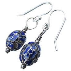 Handmade Genuine Cloisonne Bead Sterling Silver Dangle Earrings