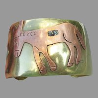 Vintage Mexican Wide Brass, Copper & Abalone Shell DONKEY Cuff Bracelet