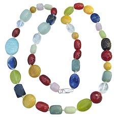 Vibrant Mixed Semi-Precious Gemstone Bead Long Necklace