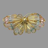 Gorgeous Gilt 800 Silver Vintage Filigree & Pastel Enamel Butterfly Pin