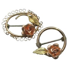 Pair Vintage KREMENTZ Gold Filled Rose Petite Scatter Circle Pins