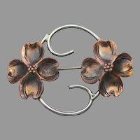 Stuart NYE Vintage Double Dogwood Flower Sterling Silver & Copper Pin