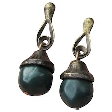 Autumn Vintage Green Glass Bead ACORN Dangle Earrings