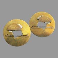 Fabulous Ultra Modern Brass Vintage Pierced Earrings