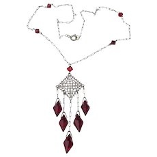 1920's Art Deco Vintage Ruby Red Crystal Sterling Silver Chandelier Necklace