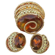 Signed CORO CRAFT Vintage Golden Topaz Rhinestone Pin & Earrings Set