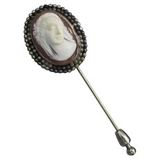 Exquisite Antique Large Carved Shell CAMEO Sterling Silver Stick Pin