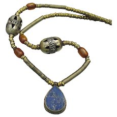 Lapis Lazuli & Amber Ethnic Tribal Indie Brass Vintage Necklace
