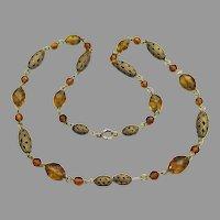 1920's Vintage Amber Crystal & Brass Filigree Bead Necklace