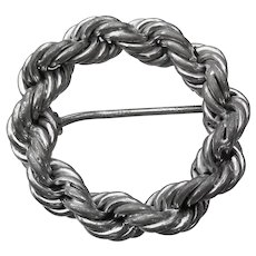 1950's Vintage Signed Binder Bros. Twisted Rope Sterling Silver Circle Pin