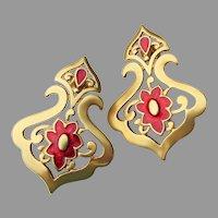 Large Vintage Gold Tone Red Enamel Fleur de Lis Pierced Earrings
