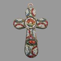 Old Italian Micro Mosaic Millefiori CROSS Pendant
