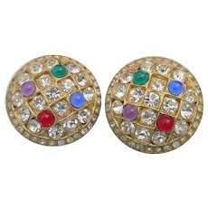Rhinestone & Multi Color Cabochon Gold Tone Clip Button Vintage Earrings