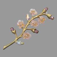 Designer Signed Vintage Pink Rhinestone & Purple Crystal Flowers Branch Pin