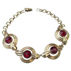 Signed SIMMONS Vintage Red Rhinestone Art Deco Bracelet