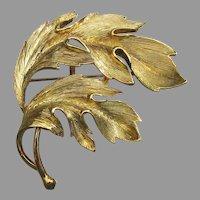 Vintage Signed MJ ENT M Jent Gold Tone LEAVES Pin