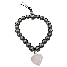 Hematite Bead & Rose Quartz Carved FLOWER Stretch Charm Bracelet
