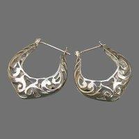 Pretty Vintage BIG Sterling Silver Filigree 3-D Hoop Pierced Earrings