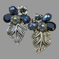 HUGE 1980's Black Crystal Bead & LEAF Pierced Earrings