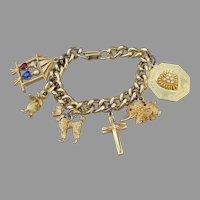 Large 1960's Vintage Gold Tone Charm Bracelet w/ Poodle, Cross, Birds, Bunny, Heart