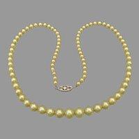 Fine 1920's Vintage Graduated Faux Pearl 14k Gold Clasp Necklace