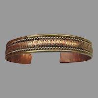 "Copper & Brass Vintage Cuff Bracelet Unisex 8""+"