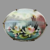 Antique Hand Painted WATERLILY China Pin Brooch