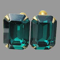 Miriam Haskell Signed Emerald Glass Vintage Earrings