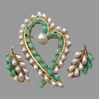 Signed ART Vintage Faux Jade & Pearl HEART Pin & Earrings Set