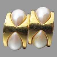 Designer Signed ST. JOHN Vintage Faux Pearl Modern Clip Earrings
