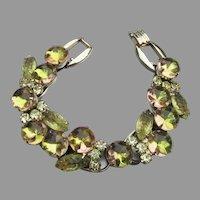 Confirmed JULIANA Yellow & Copper Molded Glass Vintage Rhinestone Bracelet