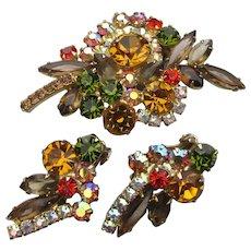 Confirmed JULIANA Vintage Autumn Colors Rhinestone Pin & Earrings Set
