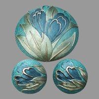 Large Vintage Blue Enamel Modern FLOWER Pin & Clip Earrings Set