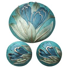 Large Vintage Blue Enamel Modern FLOWER Pin & Clip Earrings Set