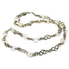 Pretty Heart Link Gold Filled Italian Sterling Silver Anklet Ankle Bracelet, Size Small
