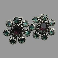 Designer Max MULLER 1960's Vintage Rhinestone Flower Earrings