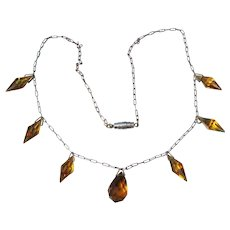 Art Deco Amber Crystal Dangle Beads Vintage Paperclip Chain Necklace