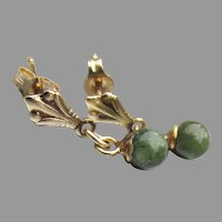 Dainty 14k Yellow Gold & Nephrite Jade Vintage Dangle Pierced Earrings