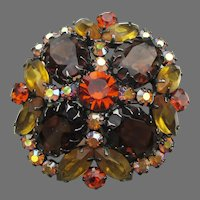 Vintage JULIANA Topaz & Amber Rhinestone Japanned Dome Pin, Book Piece!