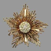 Signed REIS Vintage 12k Gold Filled Modern Rhinestone Star Pin or Pendant