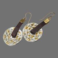 Artisan Leather & Hammered Hoop Disk Dangle Earrings