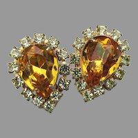 Unsigned WEISS Golden Topaz Teardrop Rhinestone Vintage Earrings