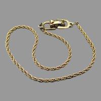 Signed Christian DIOR Vintage Gold Tone Rope Chain Bracelet
