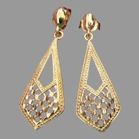 Pretty Sterling Silver Gold Plated Filigree Dangle Earrings